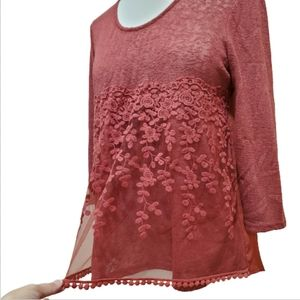 Living Doll Red Sheer Lace Sweater Top, Medium